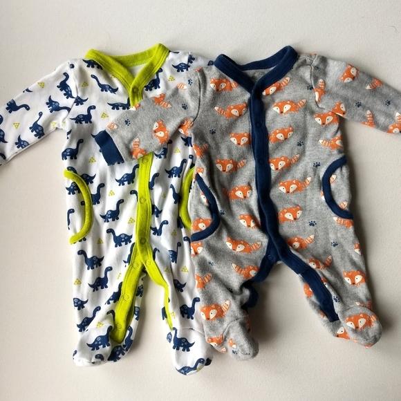 Newborn Baby Sleepers * Dinosaur and Fox Pattern
